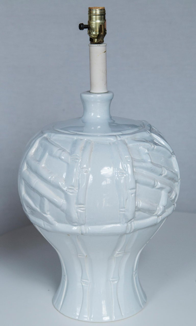 Late 20th Century Pair of Large White Ceramic Faux Bamboo Lamps, 1970s For Sale