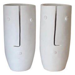 "Pair of Large White Ceramic Vases ""Koople Idoles"" Signed by French Ceramist Dalo"