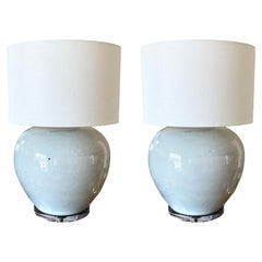 Pair of Large White Glazed Pottery Lamps