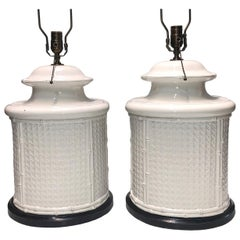 Pair of Large White Porcelain Table Lamps