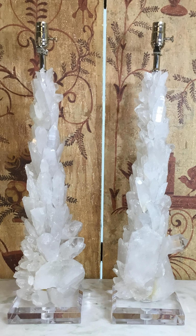 Pair of Large White Quartz Crystal Table Lamps For Sale 10
