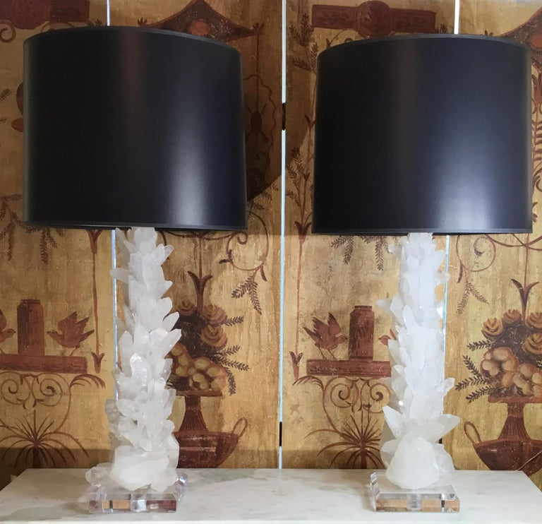 Pair of Large White Quartz Crystal Table Lamps For Sale 14