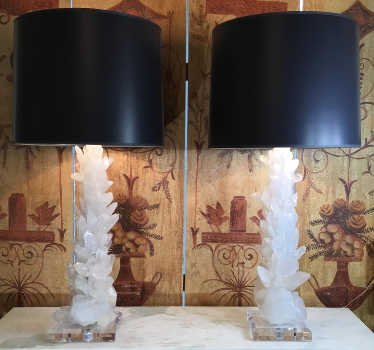 """One of a kind pair of table lamps made of genuine crystal quartz shards and crystal points in white colors ,artistically put together to make beautiful and impressive pieces of object of art for display. Bevelled clear Lucite base, size: 7"""" x 7"""" x"""