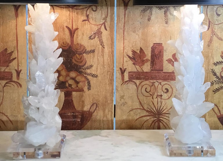 American Pair of Large White Quartz Crystal Table Lamps For Sale