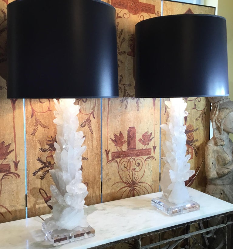 Pair of Large White Quartz Crystal Table Lamps For Sale 1