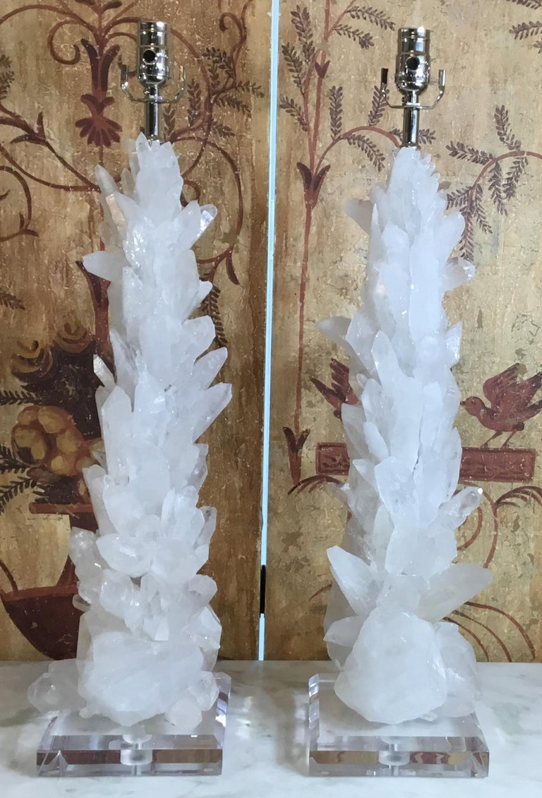 Pair of Large White Quartz Crystal Table Lamps For Sale 3