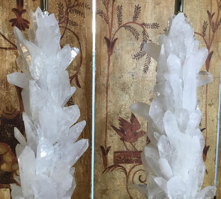 Pair of Large White Quartz Crystal Table Lamps For Sale 4