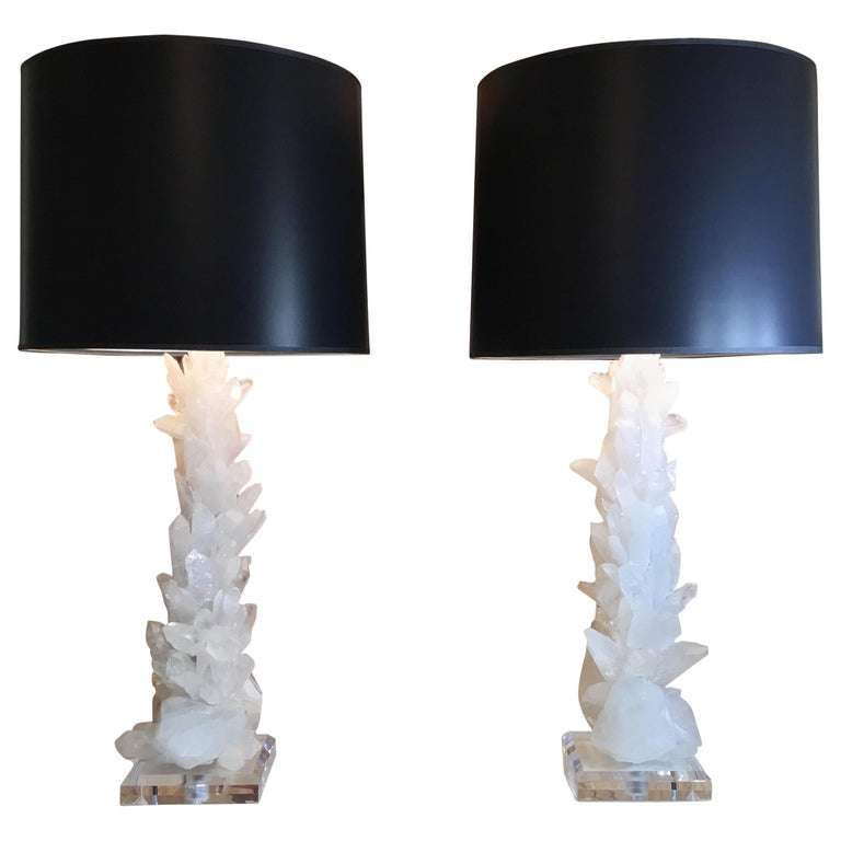 Pair of Large White Quartz Crystal Table Lamps For Sale