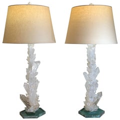 Pair of Large White Rock Quartz Crystal Table Lamps by, Joseph Malekan