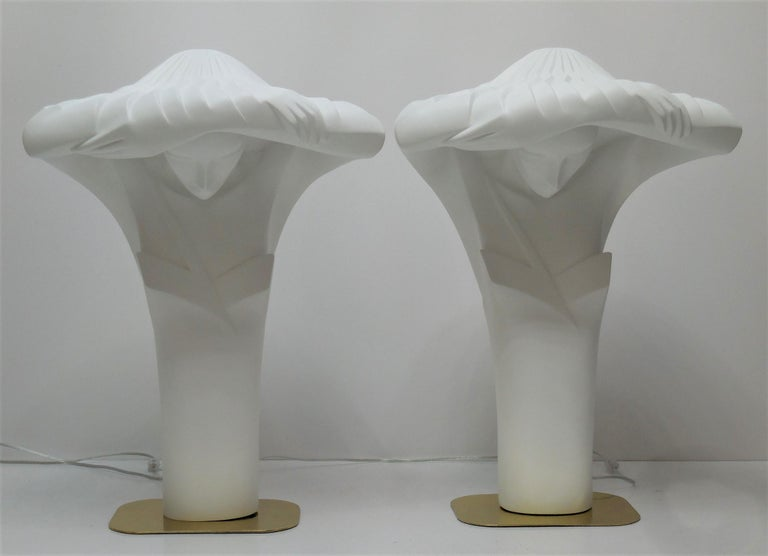 Late 20th Century Pair of Large White Sculptural Lamps by Lindsey Balkweill, 1984