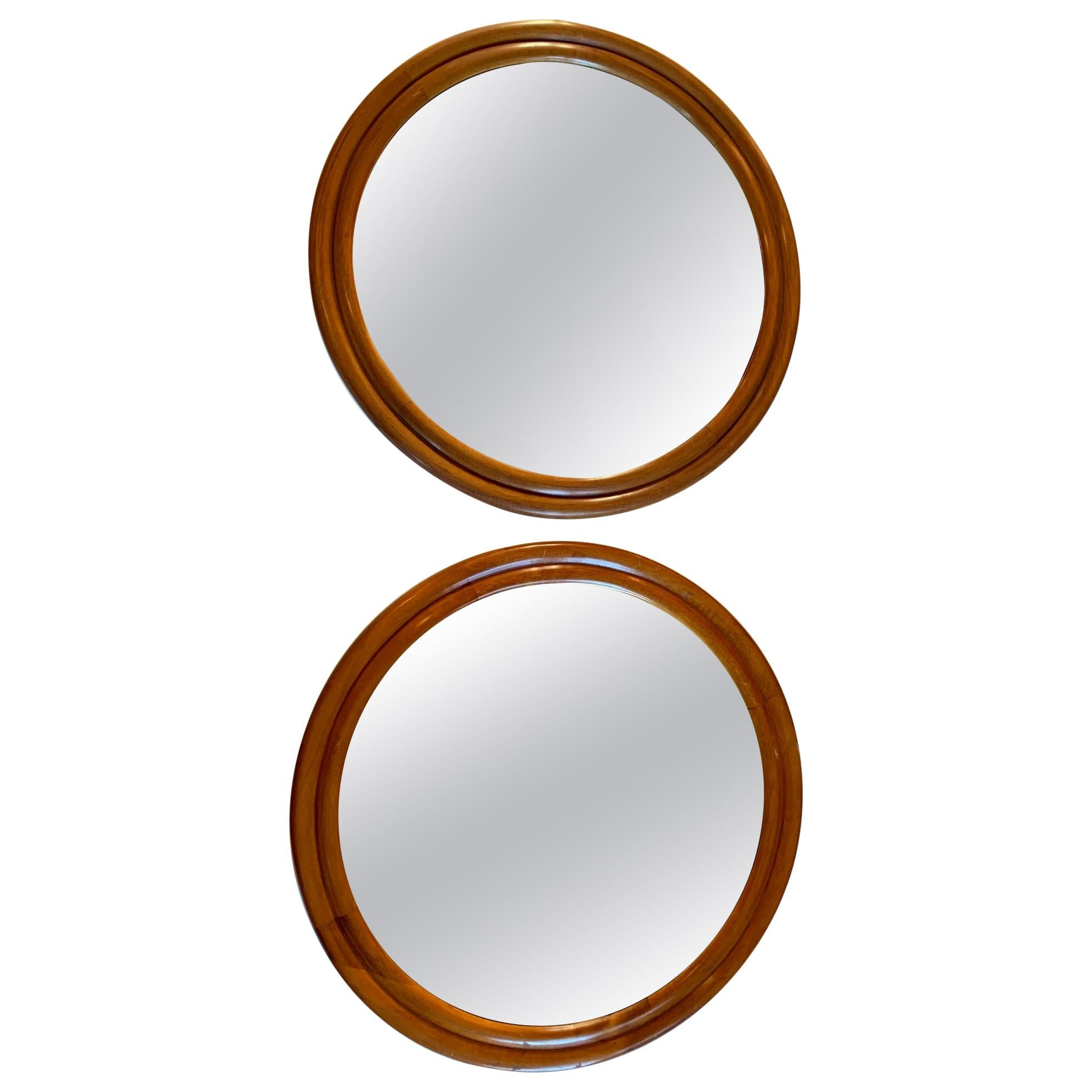 Pair Of Large Wood Framed Round Mirrors Mid 20th Century For Sale At 1stdibs