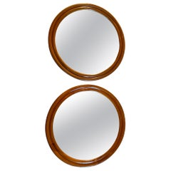 Pair of Large Wood Framed Round Mirrors, Mid-20th Century