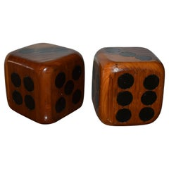 Pair of Large Wooden Dices Paperweight