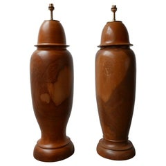 Pair of Large Wooden Mid-Century Table Lamps