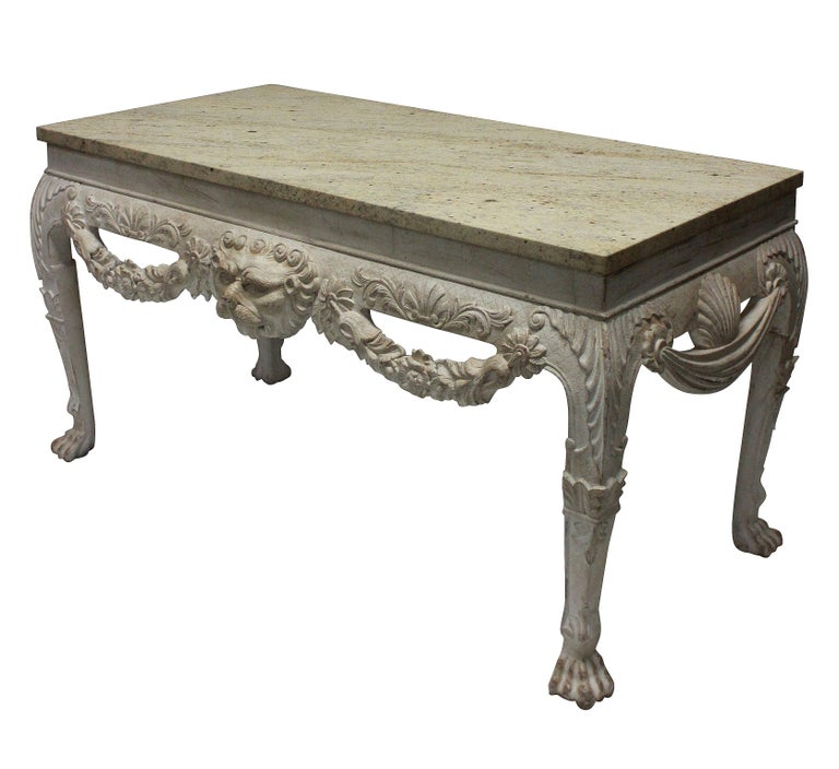 Pair of Large 18th Century Style Painted Marble Top Consoles In Good Condition In London, GB