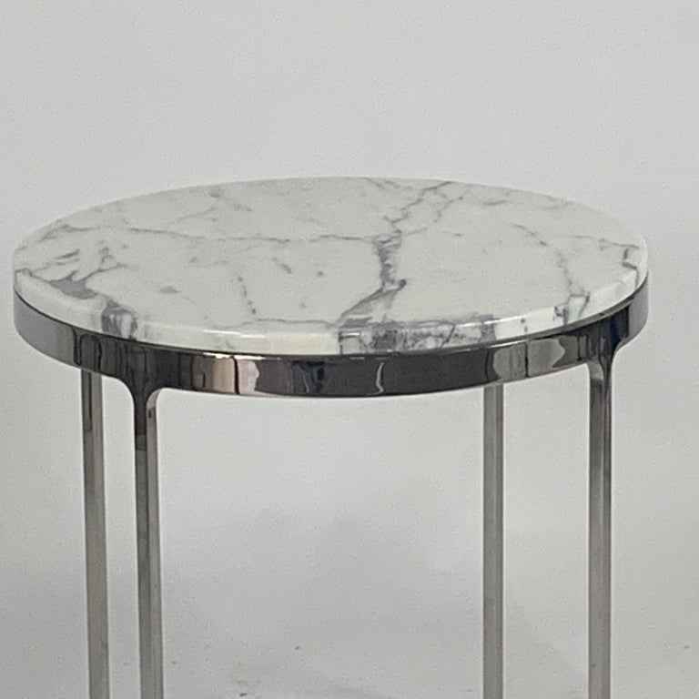 Modern Pair of Larger Scale Round Marble Nicos Zographos Side Tables