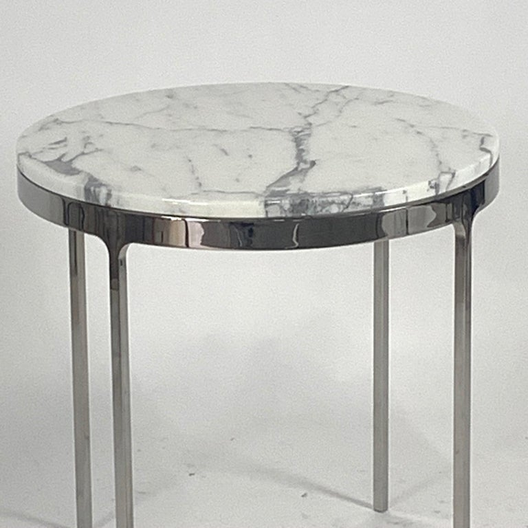 American Pair of Larger Scale Round Marble Nicos Zographos Side Tables