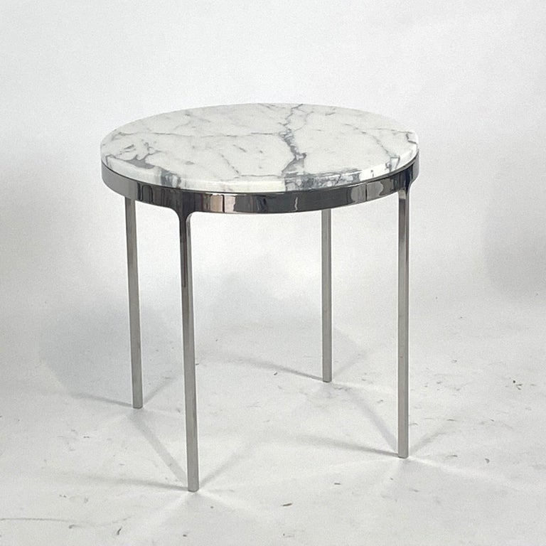 Pair of Larger Scale Round Marble Nicos Zographos Side Tables In Excellent Condition In Hudson, NY