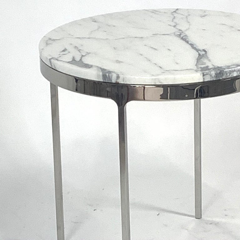 20th Century Pair of Larger Scale Round Marble Nicos Zographos Side Tables