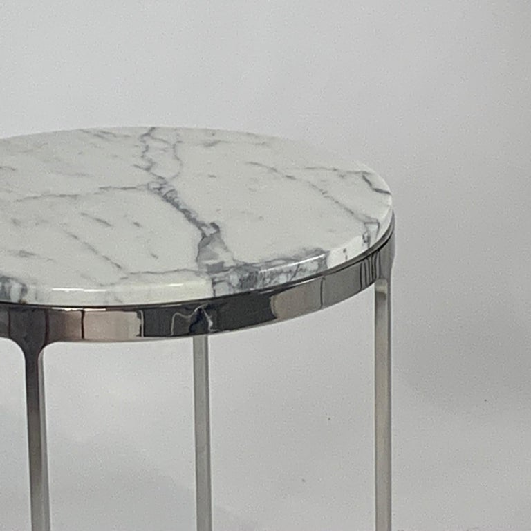 Steel Pair of Larger Scale Round Marble Nicos Zographos Side Tables