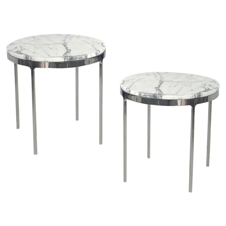 Pair of Larger Scale Round Marble Nicos Zographos Side Tables