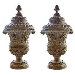 Pair of Late 17th Century Louis XVI Cast Iron Urns