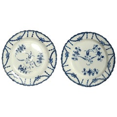 Pair of Late 18th Century Blue and White Staffordshire Pottery Plates