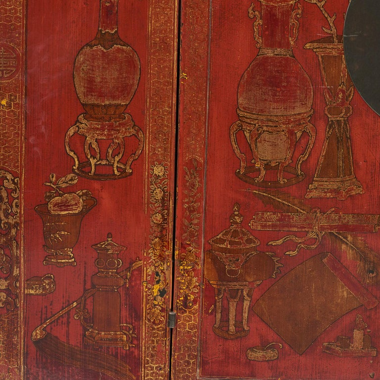 Pair of Late 18th Century Chinese Lacquered Cabinets with Original Decorations For Sale 15