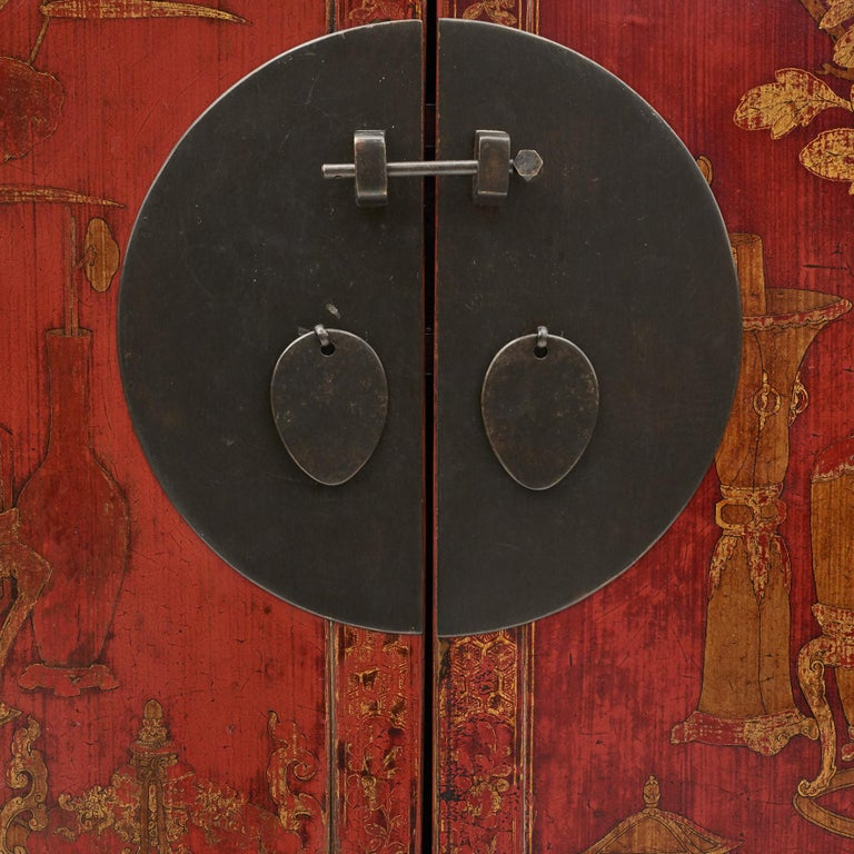 Brass Pair of Late 18th Century Chinese Lacquered Cabinets with Original Decorations For Sale