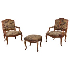 Pair of Late 18th Century French Louis XV Fauteuils, Aubusson Tapestry