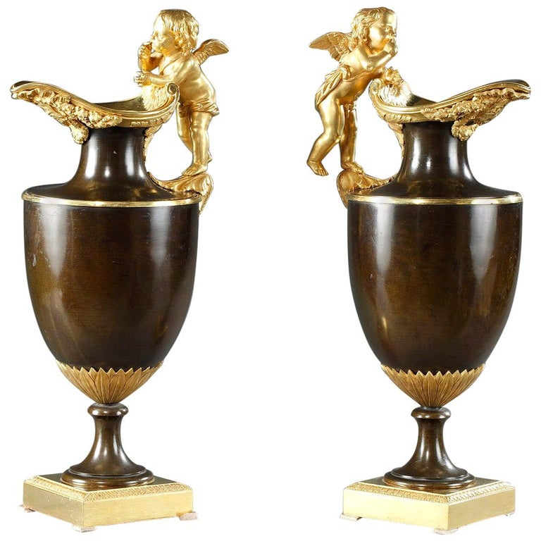 Pair of Late 18th Century Gilt and Patinated Bronze Ewers For Sale
