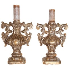 Pair of Late 18th Century Italian Carved and Gilt Candleholders