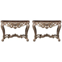 A Pair of Late 18th Century Italian Ecclesiastical Silver-Gilt Consoles