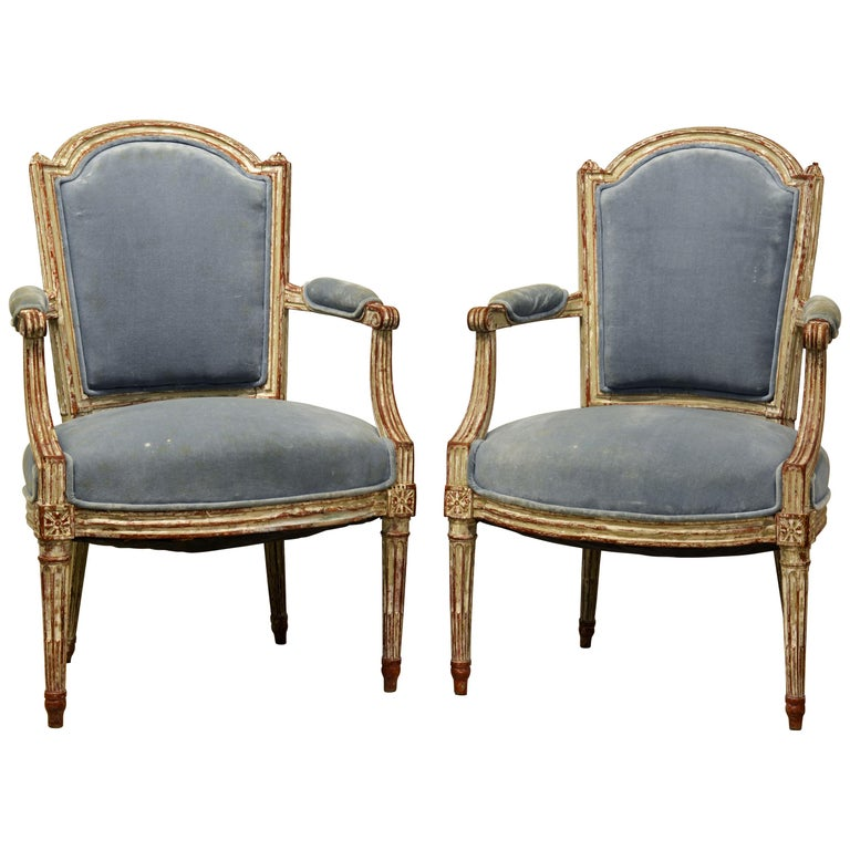 Pair of Late 18th Century Louis XVI Carved and Painted Upholstered Armchairs