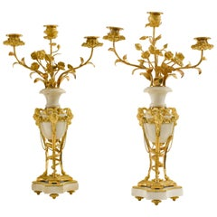 Pair of Late 18th Century Louis XVI Ormolu and White Marble Candelabra