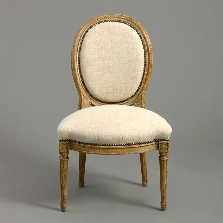 French Pair of Late 18th Century Louis XVI Period Painted Side Chairs For Sale