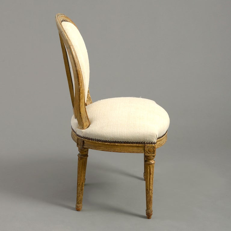 Hand-Carved Pair of Late 18th Century Louis XVI Period Painted Side Chairs For Sale
