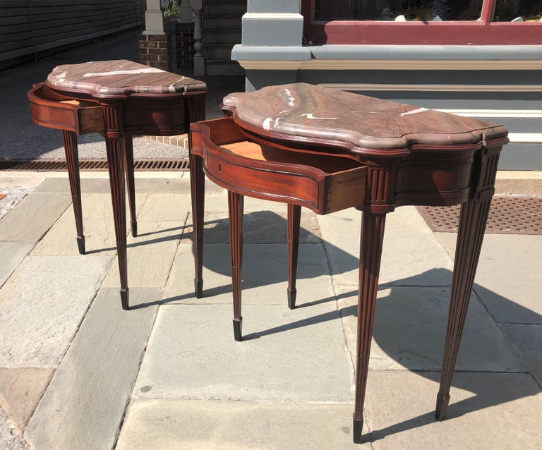 Pair of Late 18th Century Mahogany and Marble English Console Tables For Sale 6