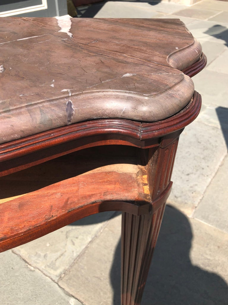 Pair of Late 18th Century Mahogany and Marble English Console Tables For Sale 7