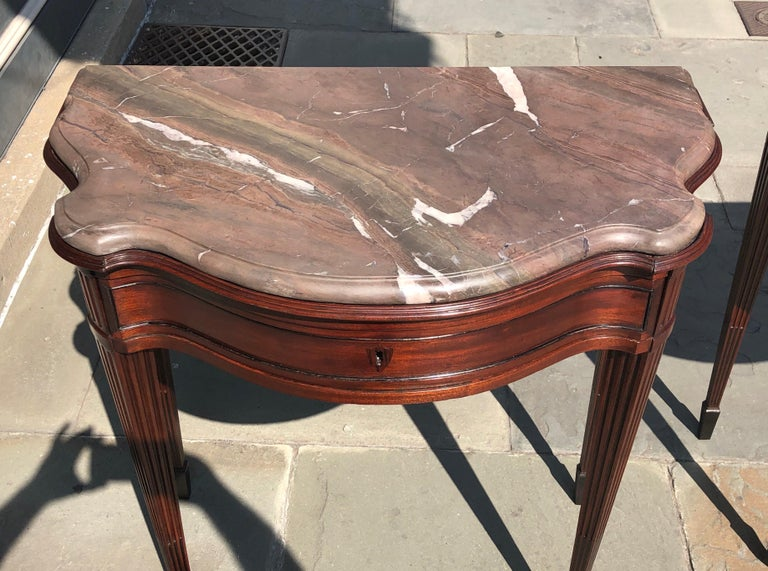 Hand-Carved Pair of Late 18th Century Mahogany and Marble English Console Tables For Sale