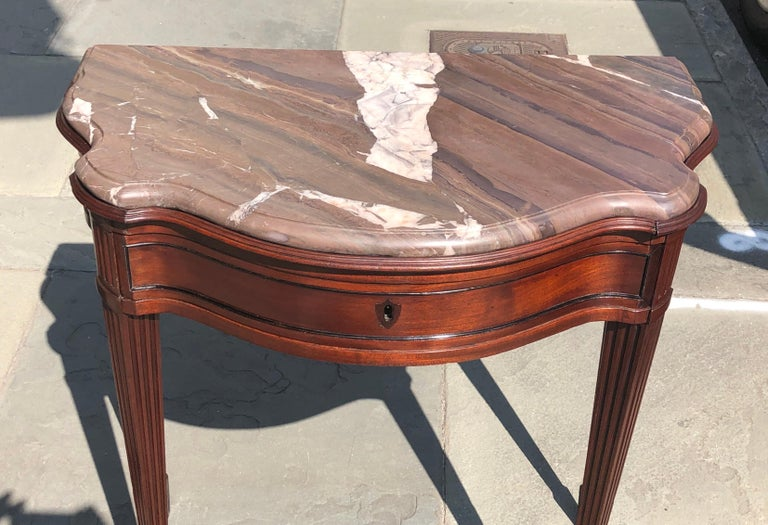 Pair of Late 18th Century Mahogany and Marble English Console Tables In Good Condition For Sale In Charleston, SC