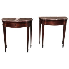 Pair of Late 18th Century Mahogany and Marble English Console Tables