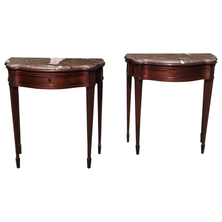 Pair of Late 18th Century Mahogany and Marble English Console Tables For Sale