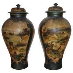 Pair of Late 18th Century Neoclassical Terracotta Monumental Vases