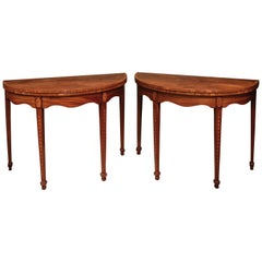 Pair of Late 18th Century Sheraton Period Figured and Faded Mahogany Card Tables