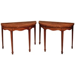 Pair of Late 18th Century Sheraton Period Figured Mahogany Card Tables
