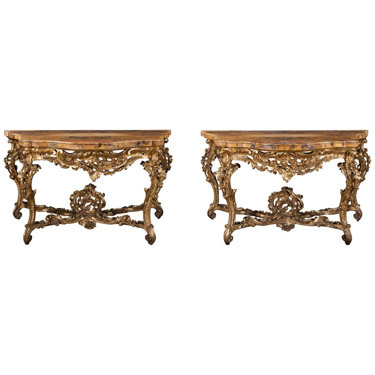 A Pair of Late 18th Century Siena Marble and Giltwood Consoles For Sale