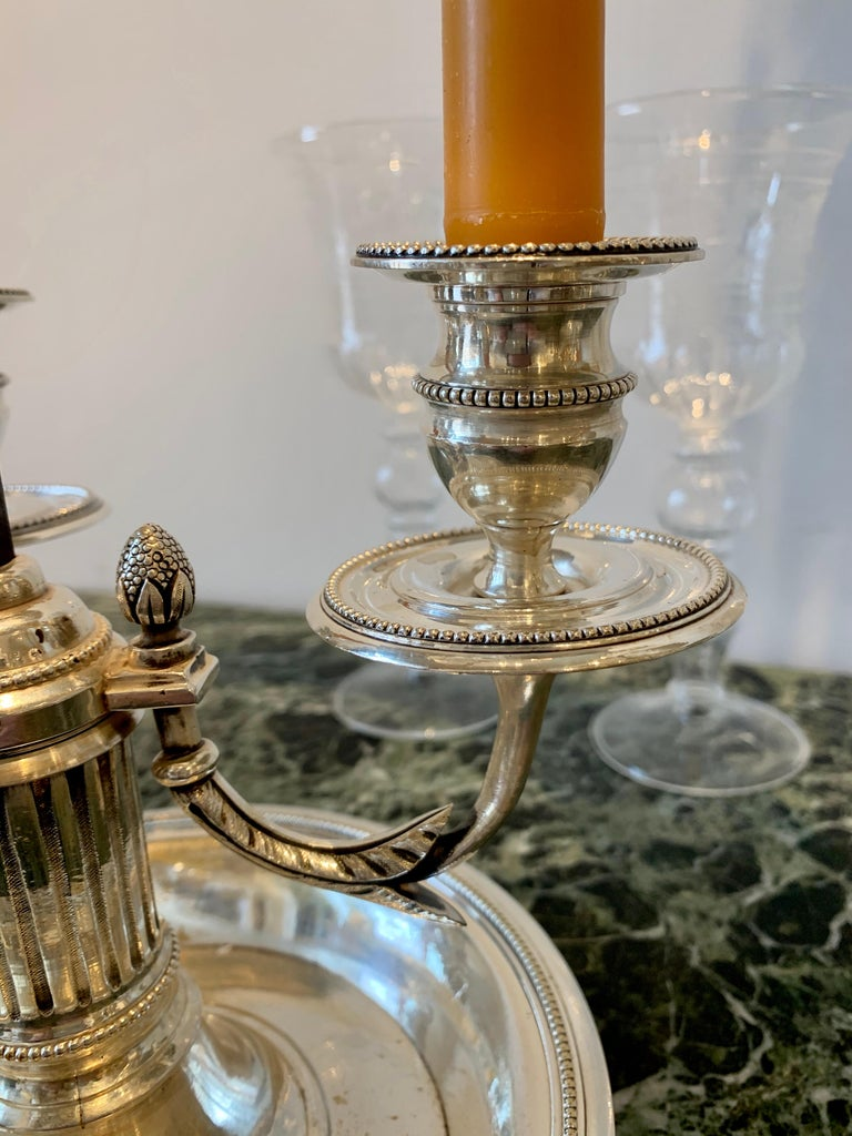 Pair of Late 18th Century Silvered Bronze Bouillotte Lamps In Good Condition For Sale In Essex, MA