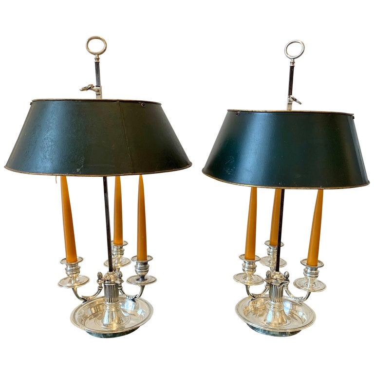 Pair of Late 18th Century Silvered Bronze Bouillotte Lamps For Sale