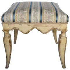 Pair of Late 18th Century Wooden Original Painted Italian Benches, Gold Touches
